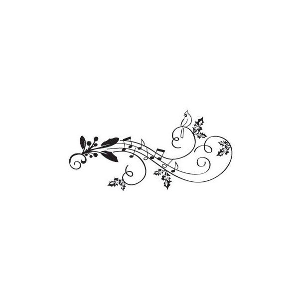 Prickley Pear Cling Stamp Melodies Mistletoe ($6.29) ❤ liked on Polyvore featuring christmas