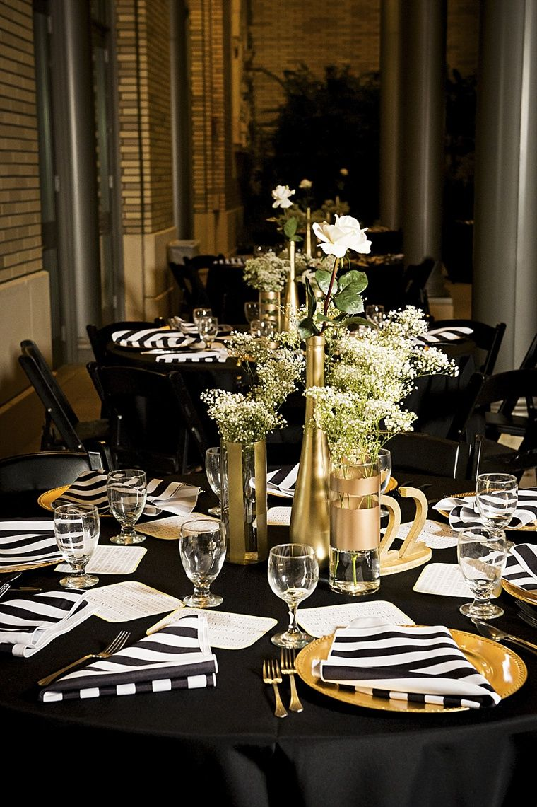 Modern Elegant White Black and Gold Wedding Gold