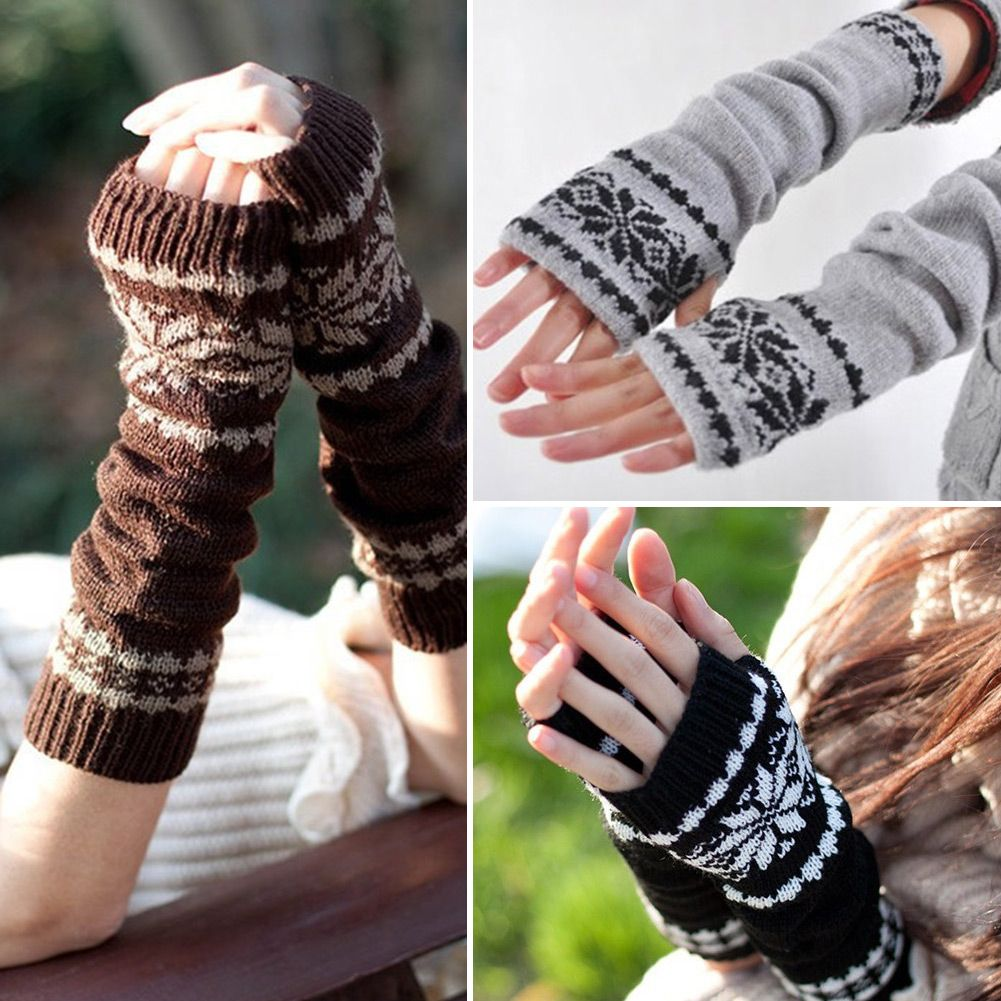 Details about snowflake wrist leg warmer long knit fingerless details about snowflake wrist leg warmer long knit fingerless mitten winter gloves pattern bankloansurffo Choice Image