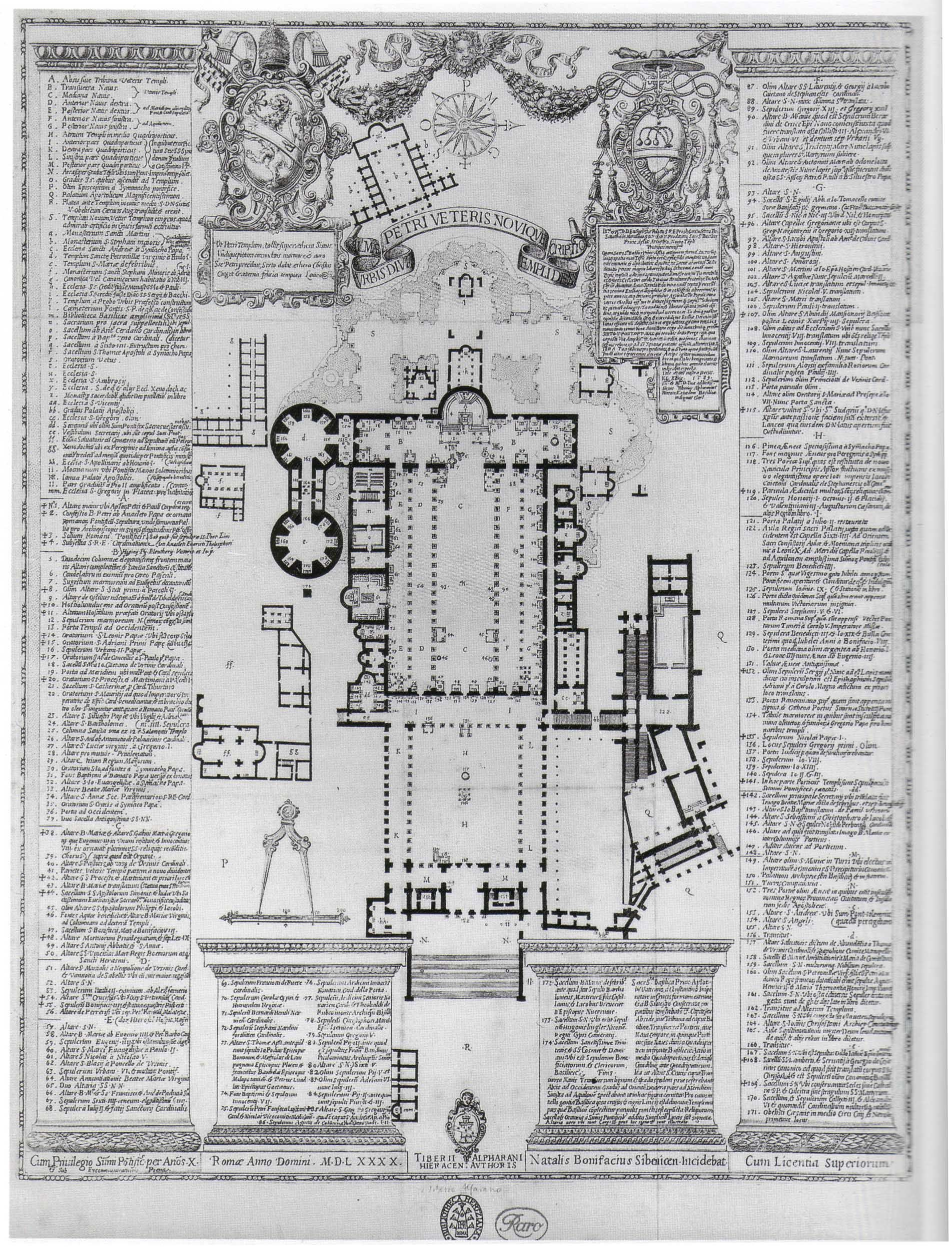 dated 1554 - Old St. Peter's. Rome Floor plan #architecture #design - in the 4th century AD CONSTANTINE I the GREAT  went to great pains to build the basilica on the site of Saint Peter's grave, and this fact influenced the layout of the building.