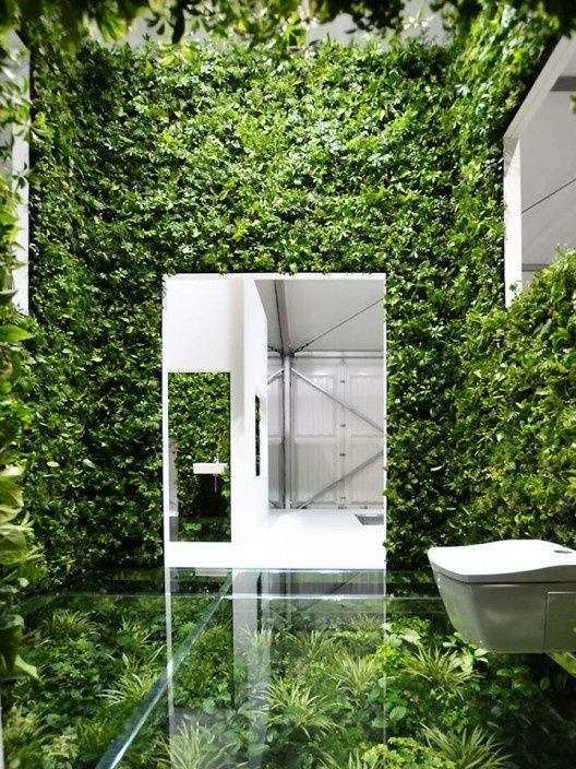 Absolutely A Unique Bathroom Concept Green Wall Created By Kenya Hara For Three Week