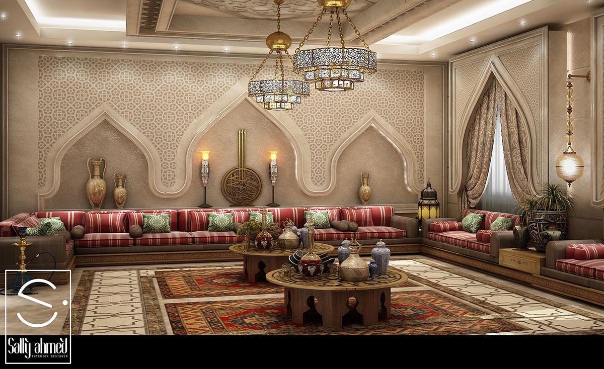 Oriantal Majilis Ksa On Behance Moroccan Decor Living Room Arabic Decor Moroccan Interiors