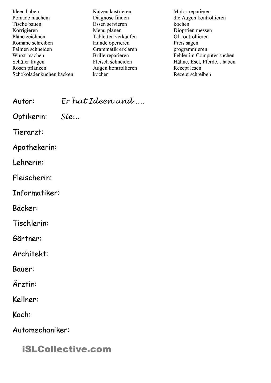 BERUFE - LEICHT | Berufe, Deutsch und Schreiben Arbeitsblatt