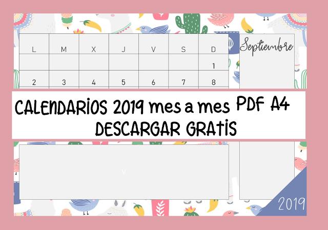 Calendario El Grafico 2019 Pdf.Calendarios 2019 Para Imprimir Mes A Mes En Tamano A4 Tres