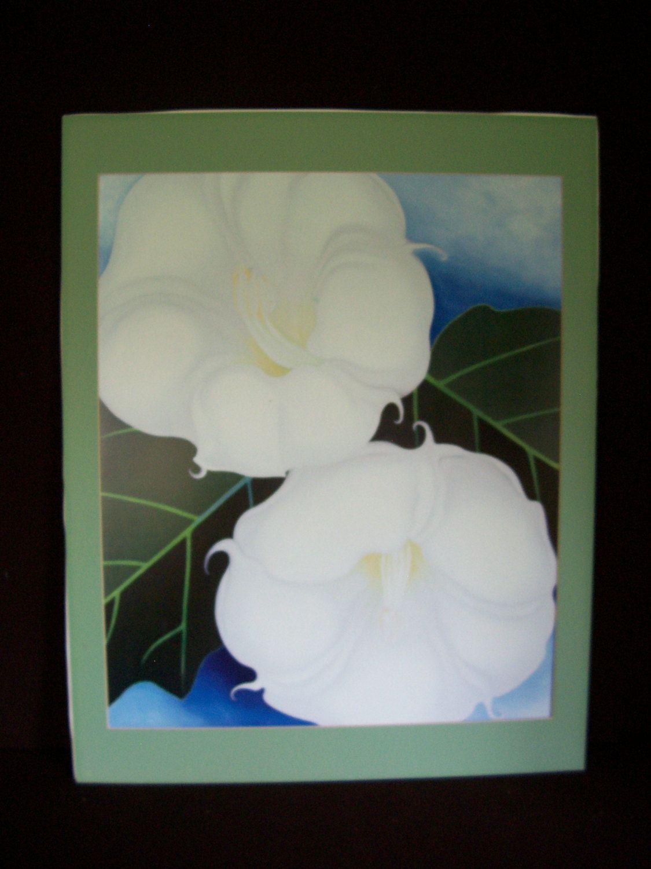 Vintage Botanical Print Two Big White Flowers 28 X 22 With Matting