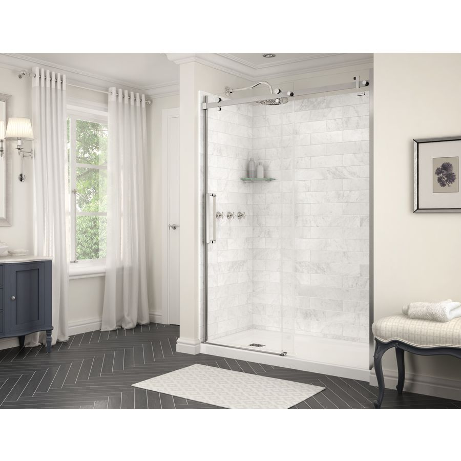 Maax Utile 59 75 In X 80 875 In Marble Carrara Shower Surround Back Wall Panel Lowes Com Bathtub Wall Surround Bathtub Walls Wall Paneling