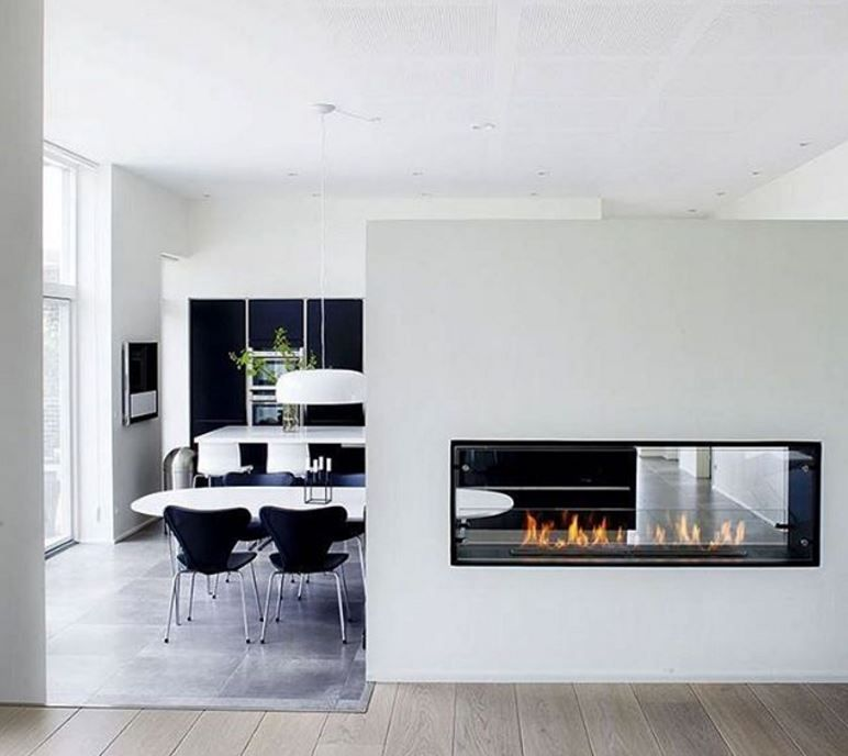Decoflame bioethanol fireplace installed as a room divider Montreal
