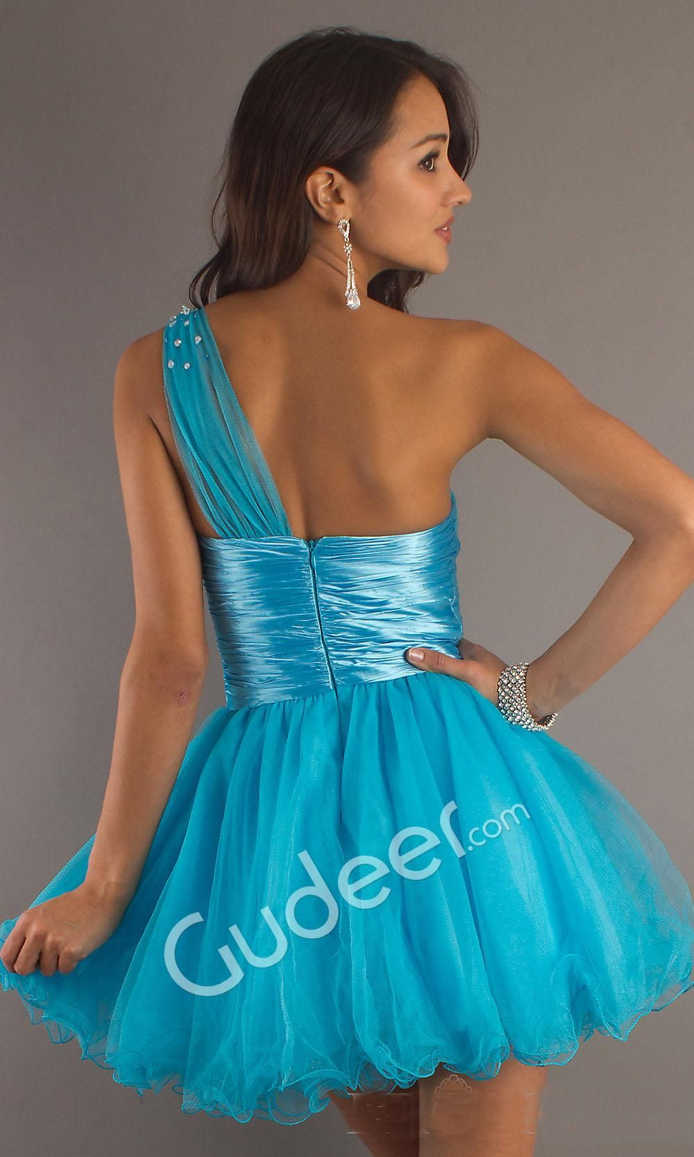 short formal dresses turquoise and silver | Turquoise One Shoulder A ...