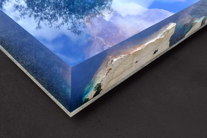 Artist Creates Layered Marble and Acrylic Table with Built-in WiFi