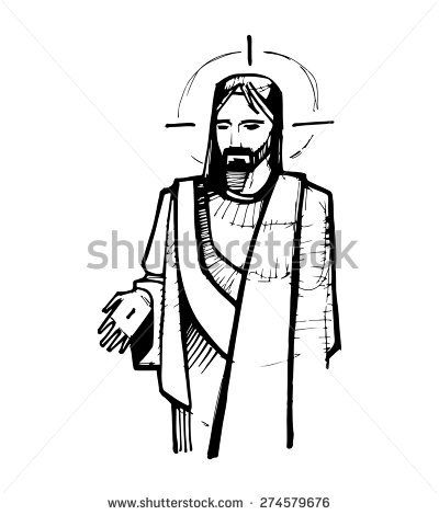 hand drawn vector illustration or drawing of jesus christ at his resurrection