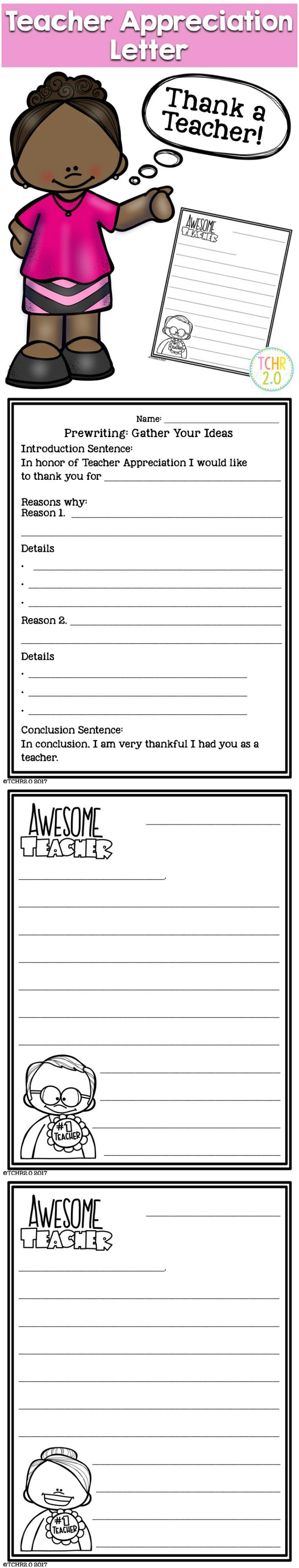 Teacher Appreciation Letter  Appreciation Teacher And Activities