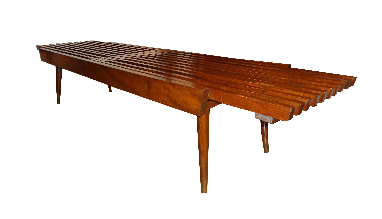 George Nelson Slat Extending Walnut Bench Coffee Table sold