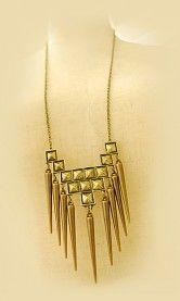 Geometric square design rivet long necklace sweater chain