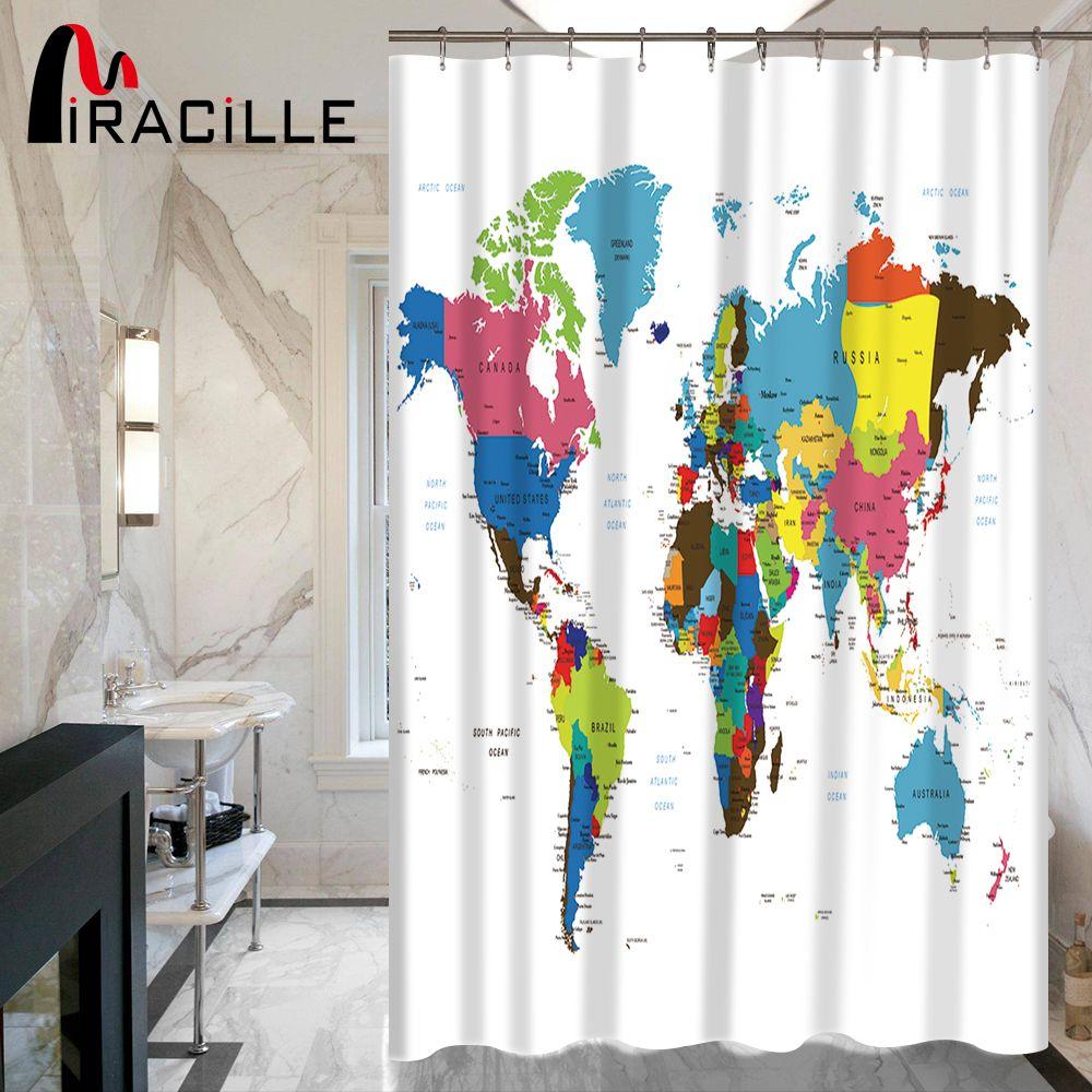 "71/"" Waterproof fabric Shower Curtain with hooks bathroom mat world map magic hot"
