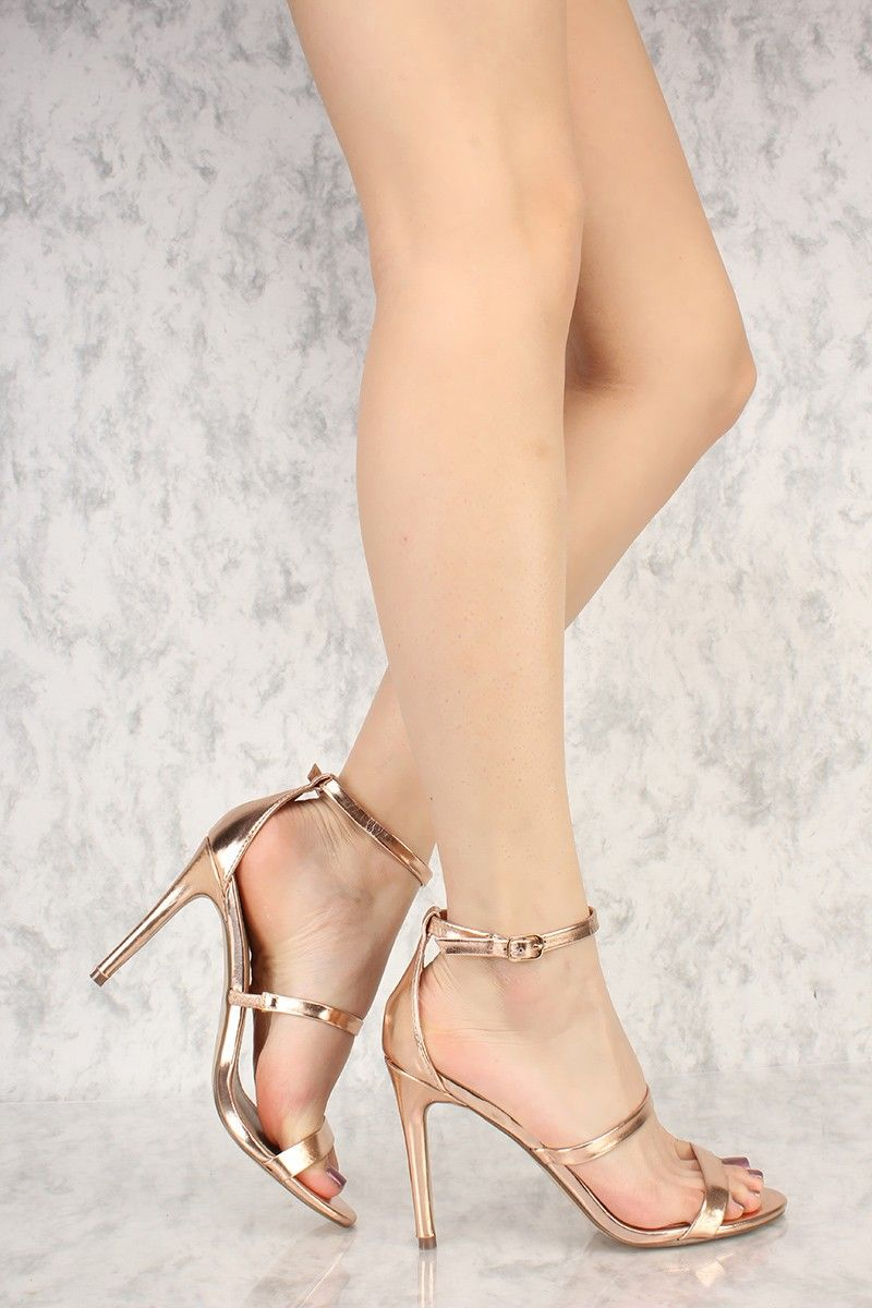 29e530b2593 Rose Gold Triple Strap Open Toe Single Sole High Heels Faux Leather ...