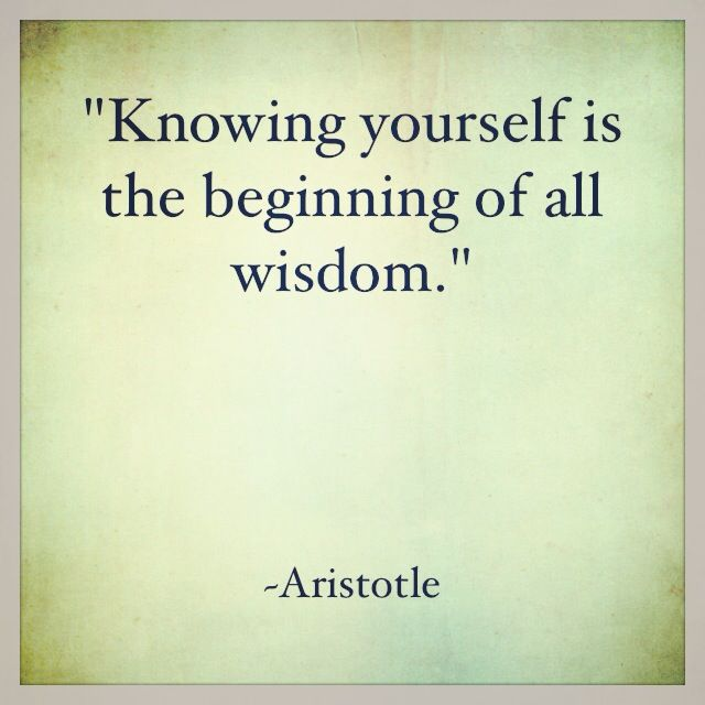 """""""Knowing yourself is the beginning of all wisdom.""""  ~ Aristotle"""