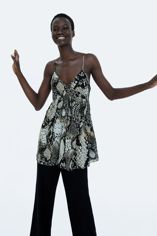41e2c59f76 Image 2 of SNAKESKIN PRINT DOTTED MESH DRESS from Zara