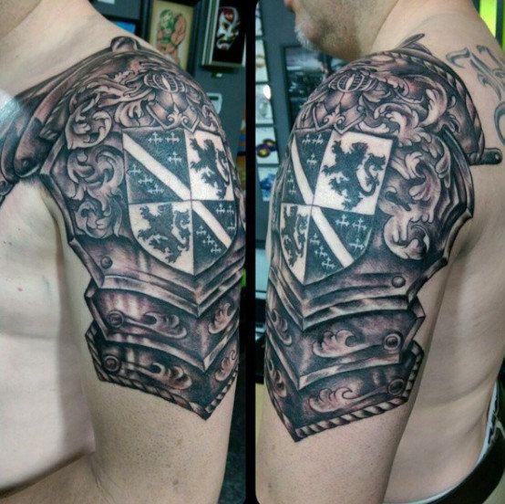 Scottish Heritage Tattoos: Irish Armor Tattoo 50 Family Crest Tattoos For Men