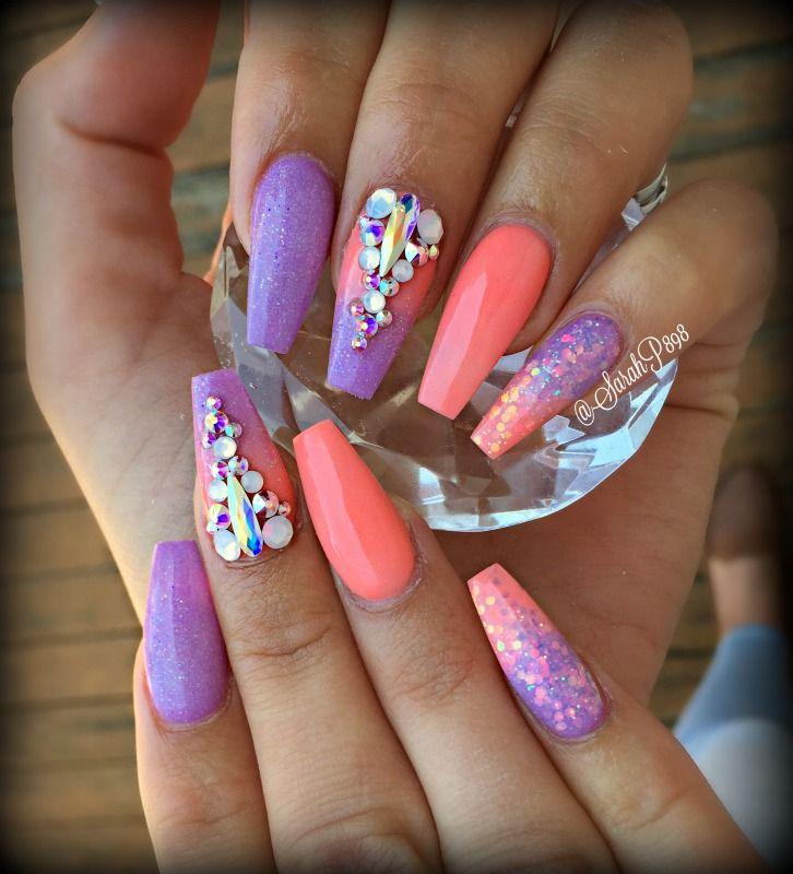 Long Coffin Summer Nails Bling Nails Purple Nails Purple Nail