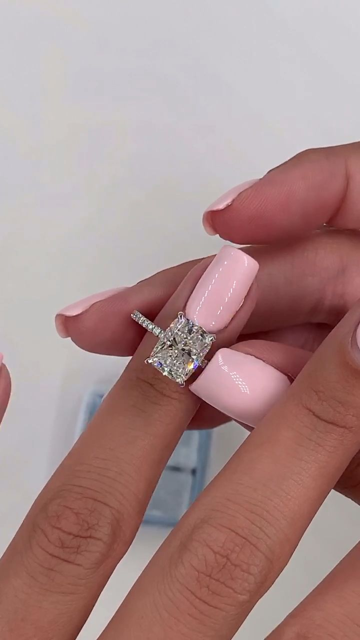 Elongated cushion cut engagement ring