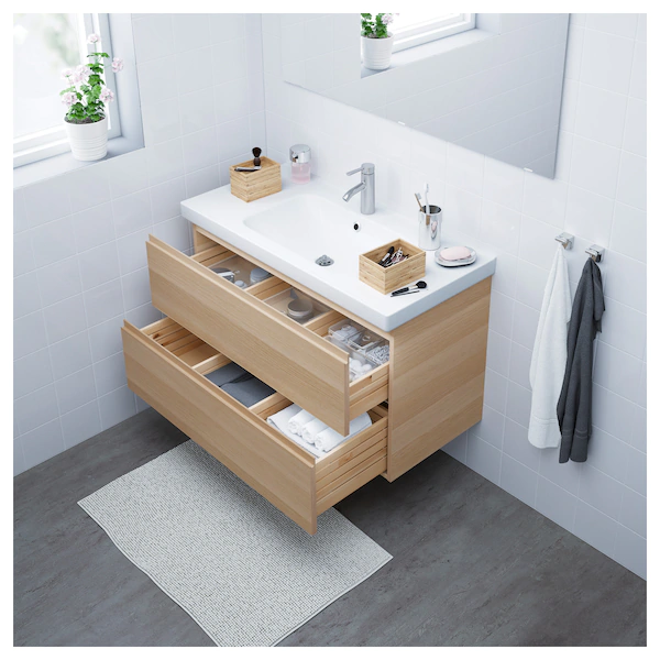 Photo of IKEA – GODMORGON / ODENSVIK Sink cabinet with 2 drawers, White stained oak effect/dalskär faucet