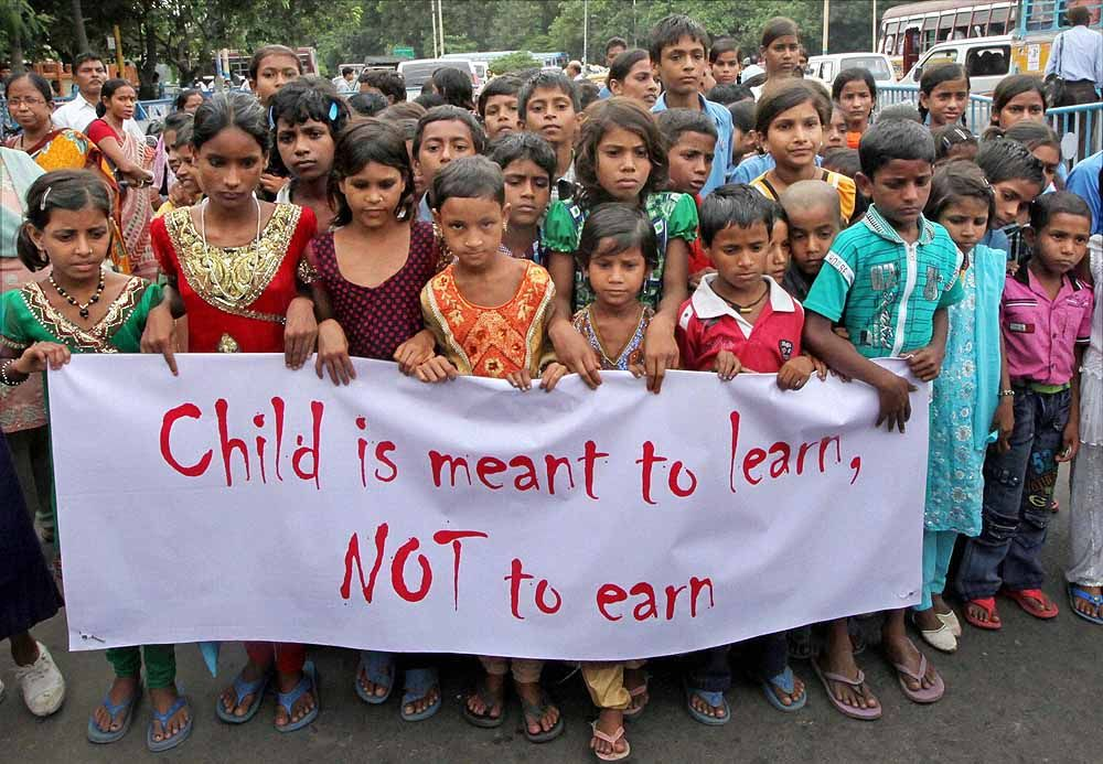 children protesting against lack of education Child