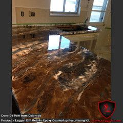 First time user of our products! Just to give you an idea of what's possible with our #diy #metallic #epoxy #countertop #resurfacing #kits #kitchen #kitchendesign #kitchenremodel #countertops #metallicepoxy #KitchenDesign #KitchenDesignIdeas #ModernKitchenDesign #KitchenDesignImages (Affiliate Link)