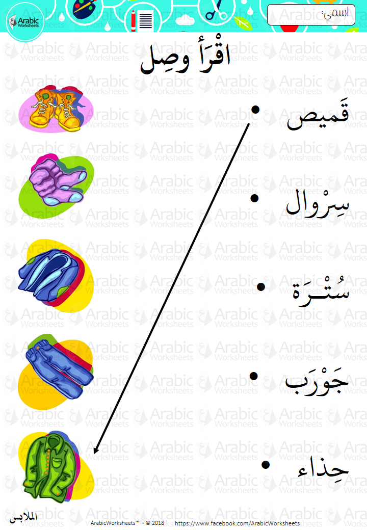 Pin By Arabicworksheets On Clothes Vocab In Arabic Arabic Alphabet For Kids Learning Arabic Arabic Language