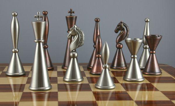 art deco copper/steel finish chess set (from fringe brave new