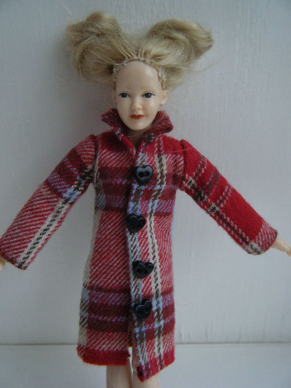 1:12 scale red checked coat for Heidi doll by by JingsCreations