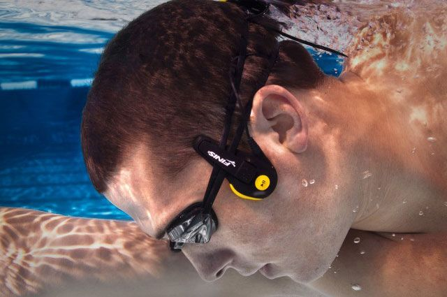 Finis Neptune waterproof player uses bone conduction to