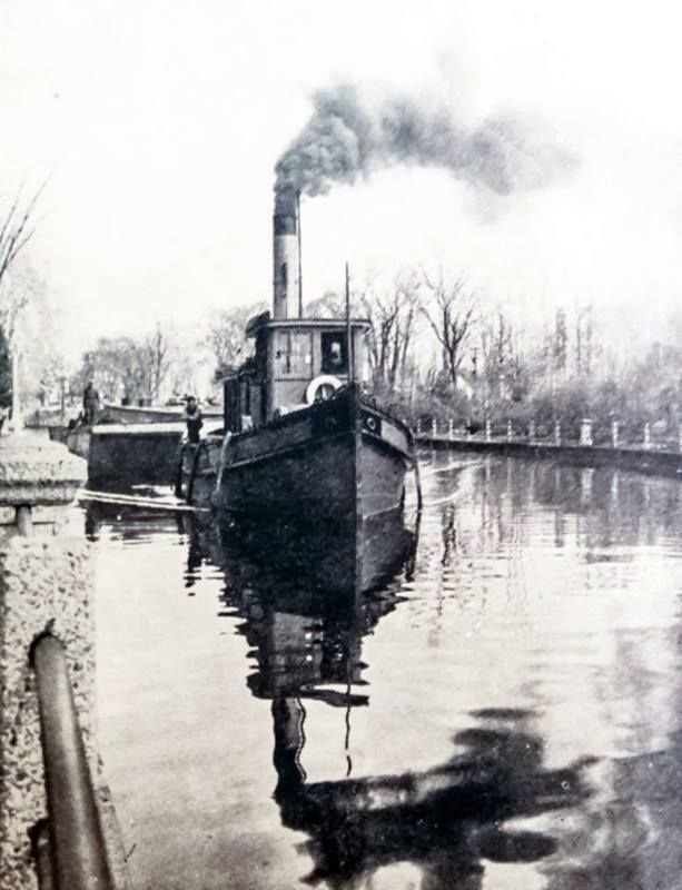 With the opening of the Rideau Canal just weeks away here is a shot of workers on a steam tug pulling a barge. Were they prepping for opening day back in 1937?