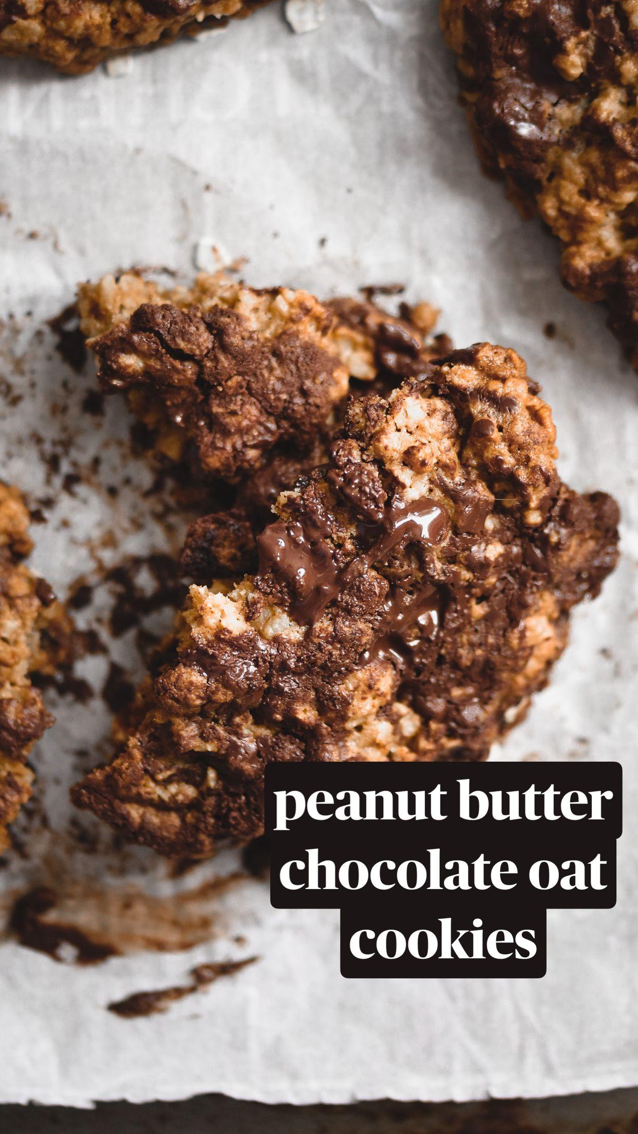 peanut butter chocolate oat cookies
