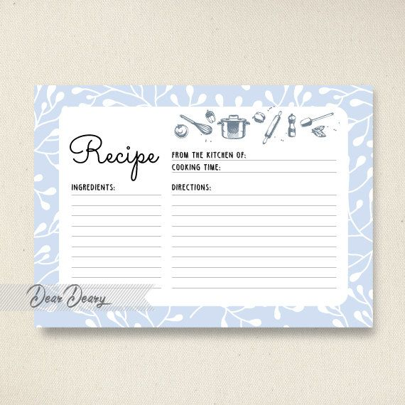 Recipe Card Printable - Kitchen Recipe Card - Instant Download