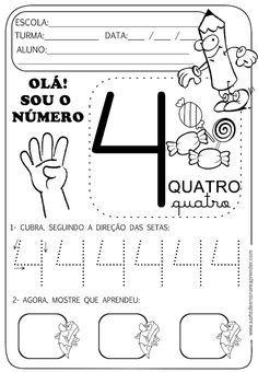 Atividade Pronta Numeral 4 Com Imagens Atividades Numerais