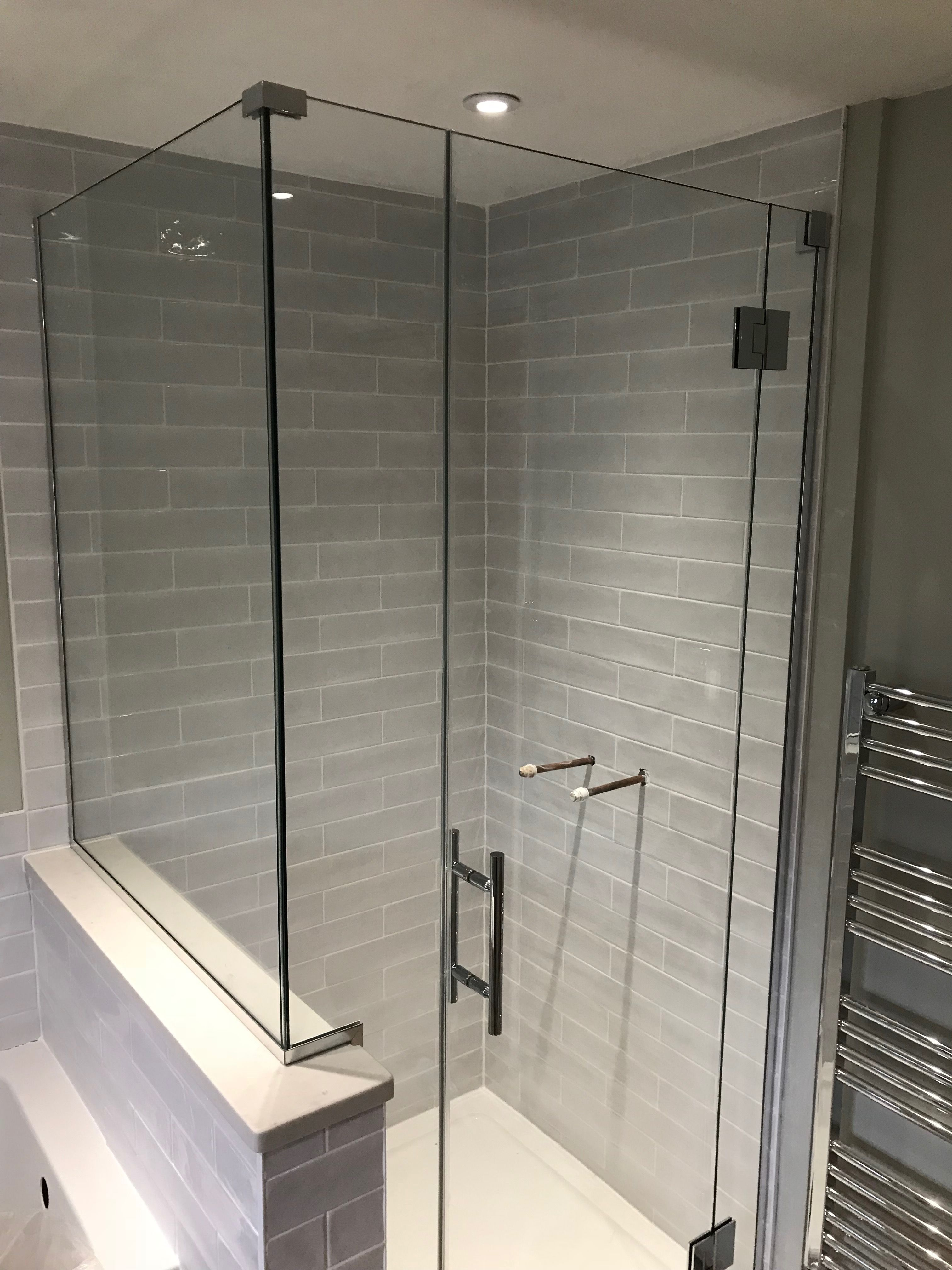 Frameless Made To Measure Shower Enclosure Installed To End Of