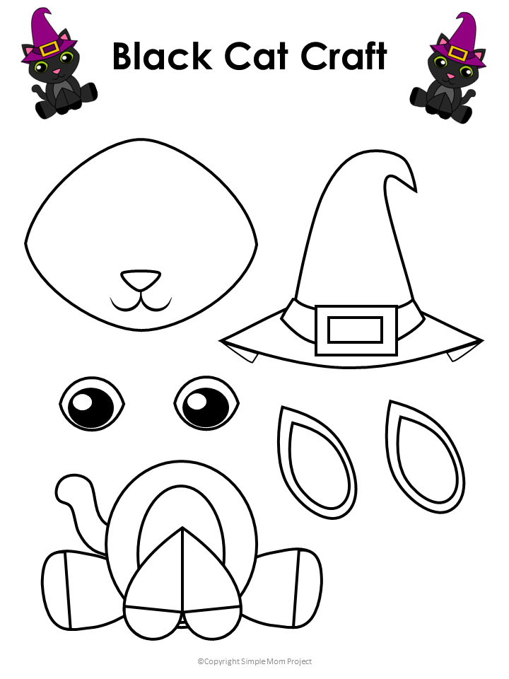 Halloween Black Cat Printable Craft with FREE Template ...