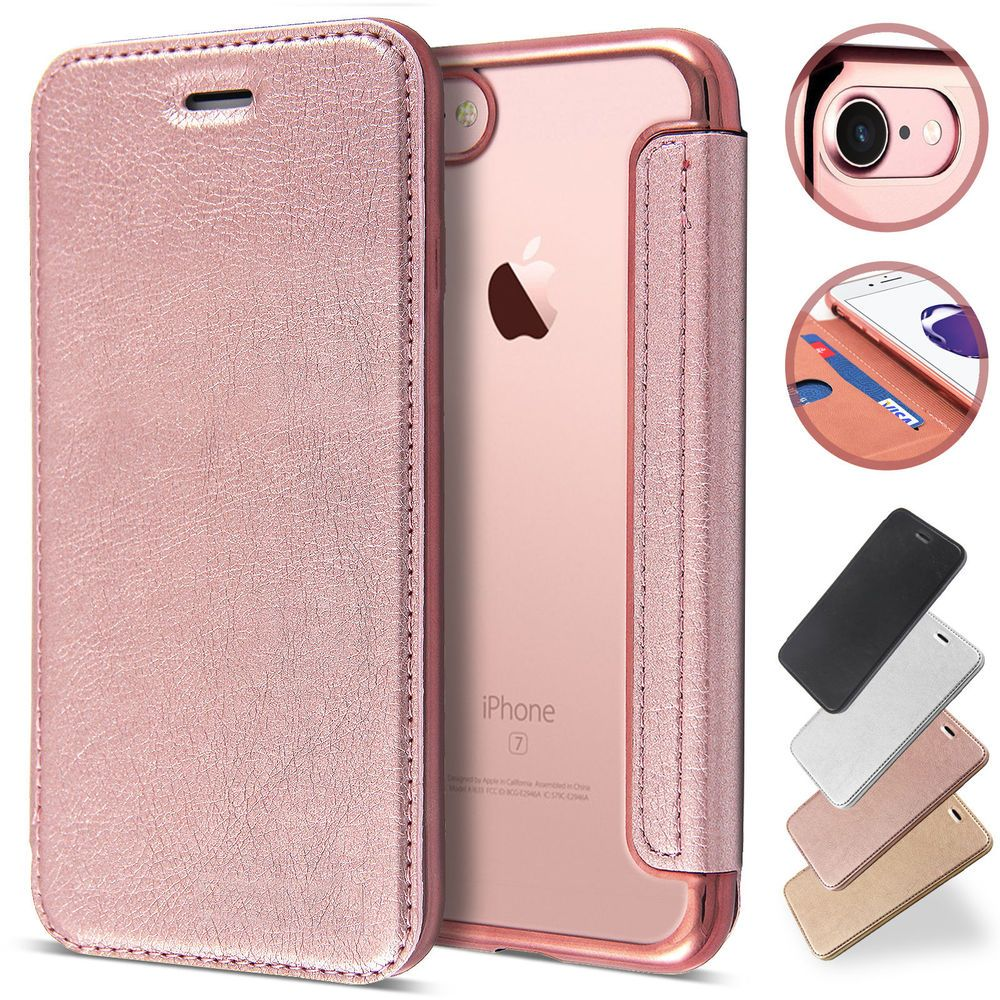 separation shoes dba4c 51358 Rose gold Clear Back Leather Flip Case Silicone Cover Wallet for ...