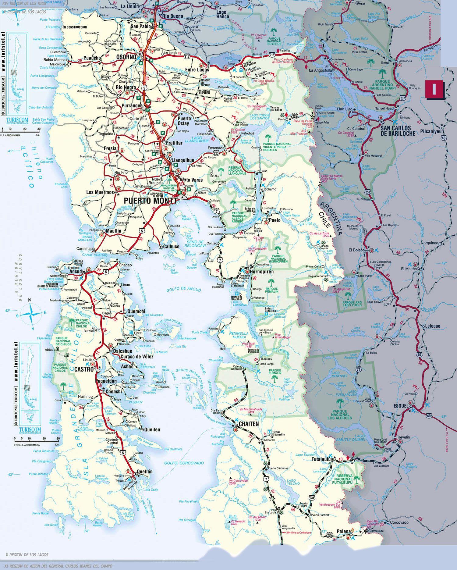 Mapa Sur De Chile.Turismo En Chile Mapa Turistico De La X Region De Los Lagos Cabanas Hoteles Camping Mapa Turistico Chile Mapa Turistico Mapas De Carreteras
