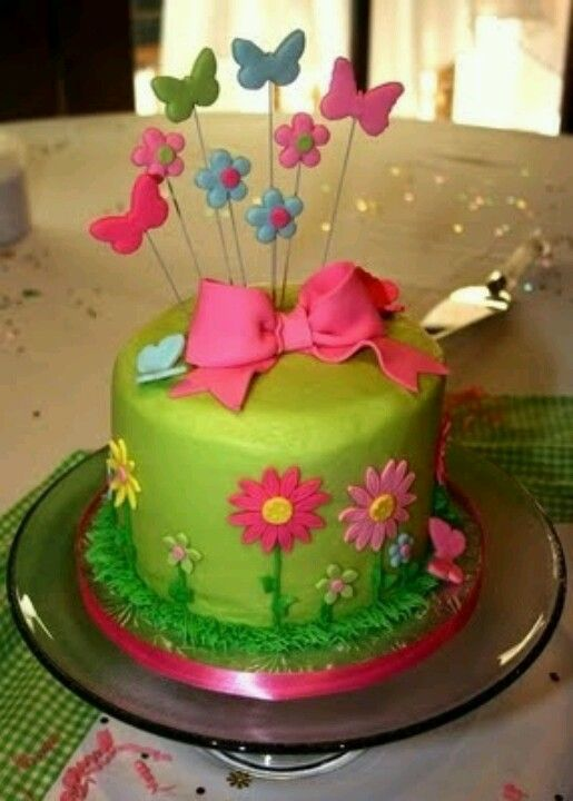 Butterfly Flower And Bow Cake