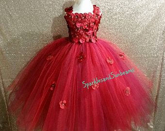 f9d6c31d5 Rojo y vino Hortensia vestido/Borgoña vestido de niña de las flores ...