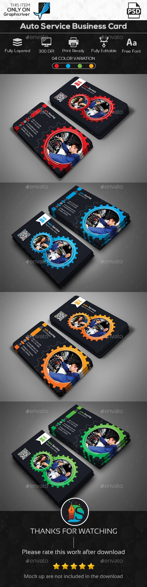 Auto Service Business Card | Auto service, Car repair and Business cards