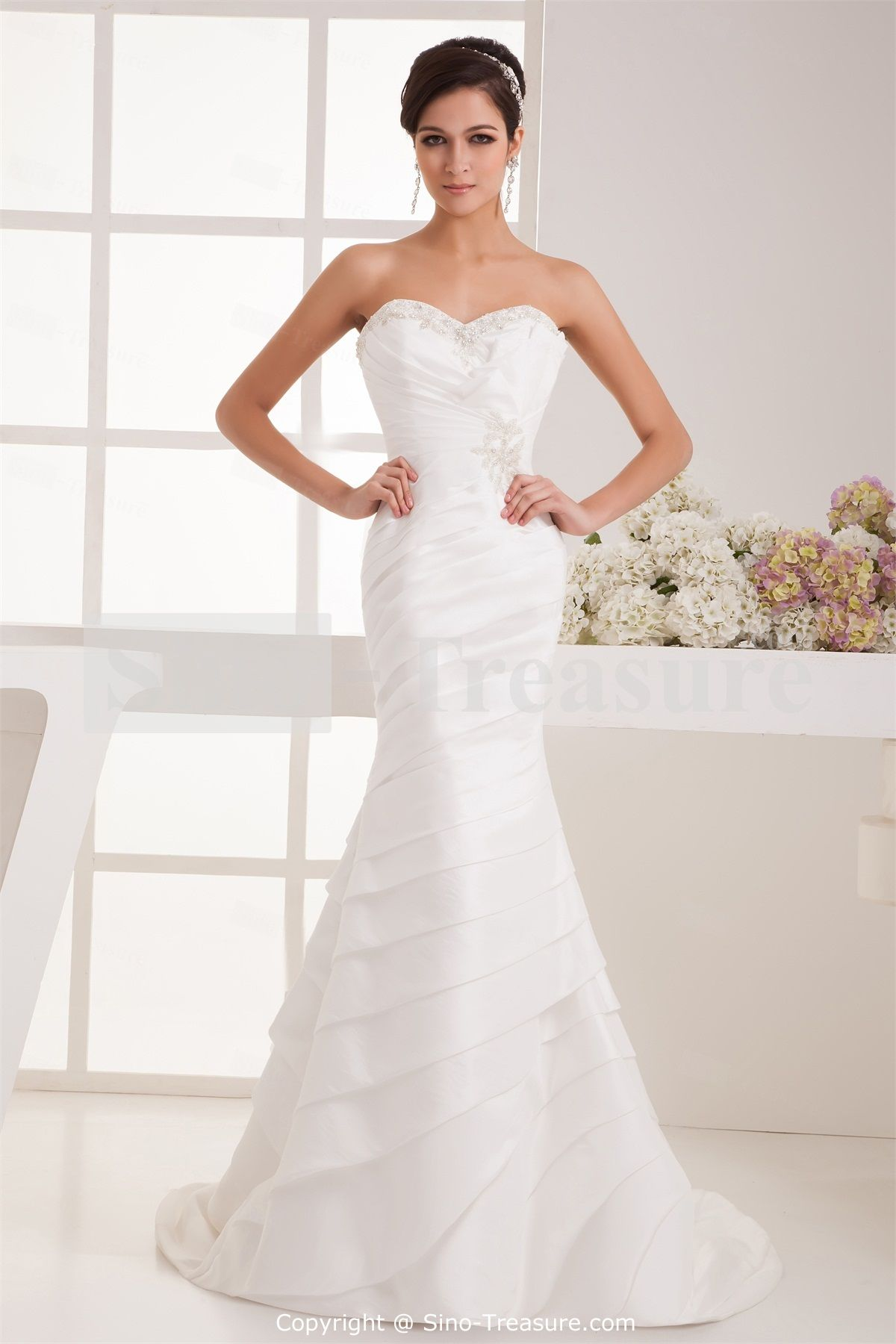 White Beading Mermaid/ Trumpet Sweetheart Taffeta Wedding Dress ...