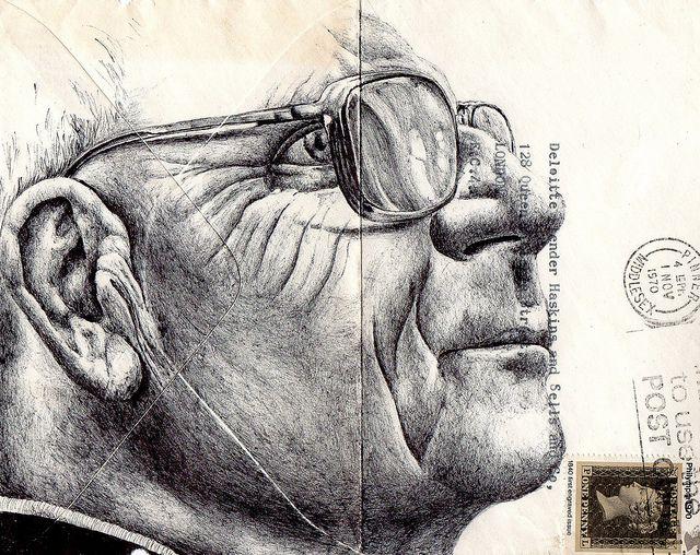 bic biro on 1970s envelope by Mark Powell