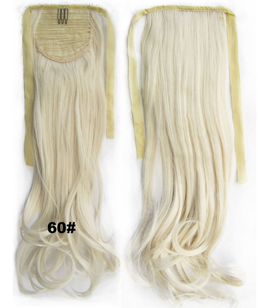 22 Inch Cheap White Blonde Synthetic Ponytail Hair Extension In
