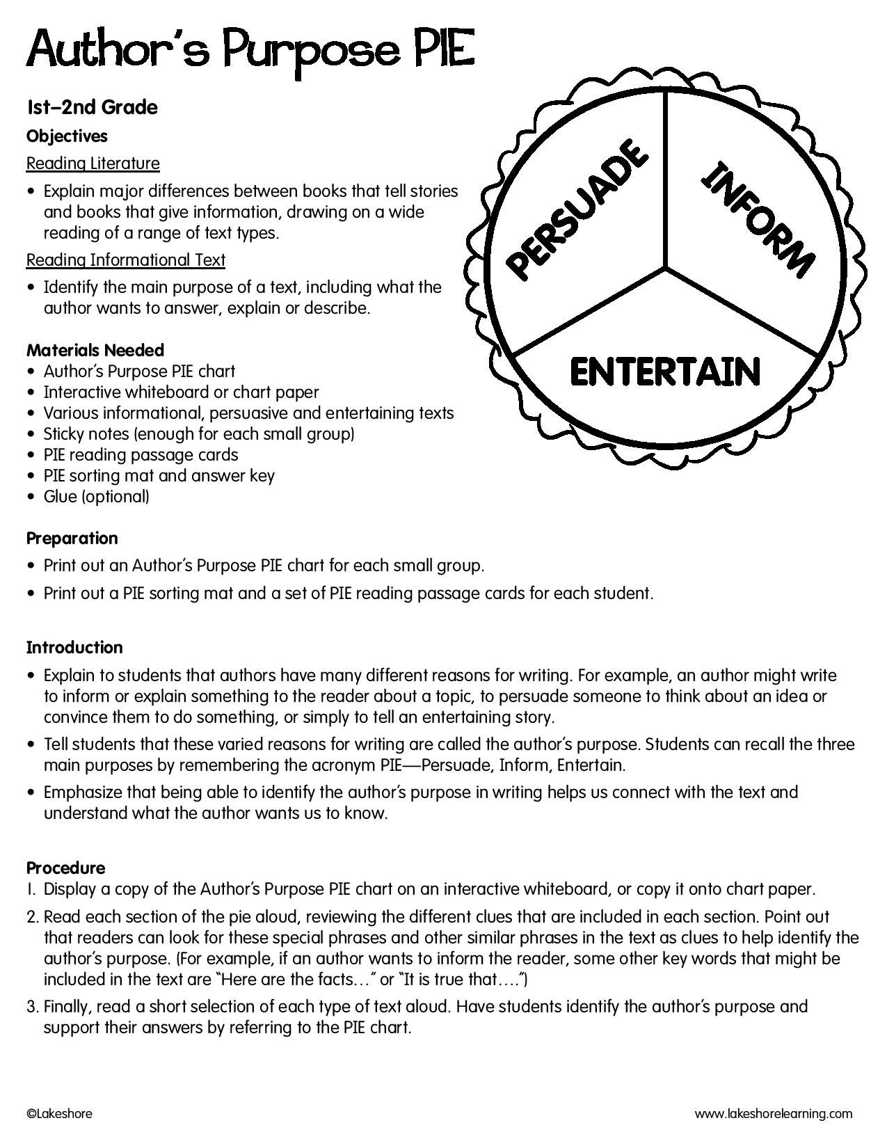 Author S Purpose Pie Lessonplan Authors Purpose Author S Purpose Worksheet Authors Purpose Activities