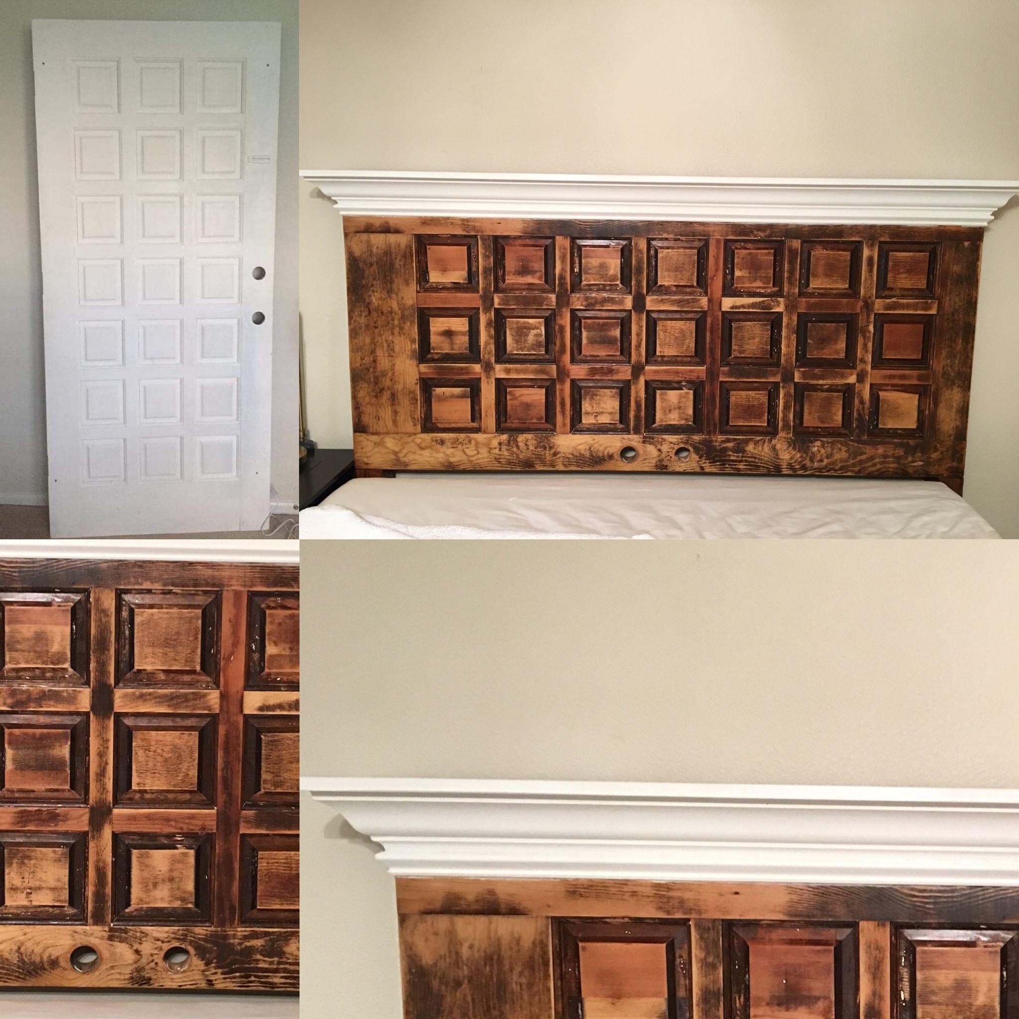 Diy Antique Door Headboard Before Top Left And After A Little Crown Molding Paint Removal Sanding And Antique Door Headboards Door Headboard Antique Door