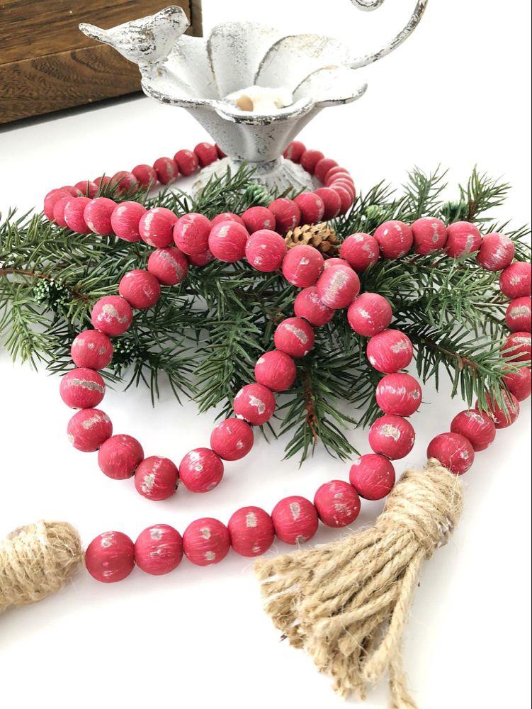 Red Wood Bead Garland, Farmhouse Beads, Home Decor Beads