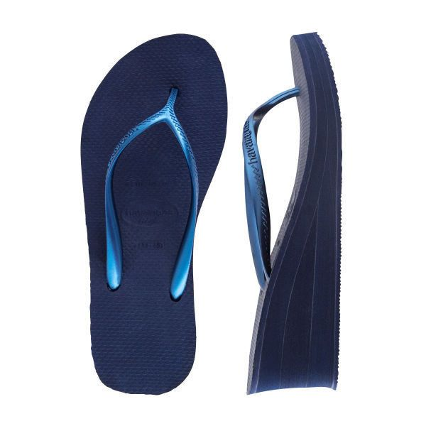 Havaianas Women's High Fashion Wedge Sandal (€28) ❤ liked on Polyvore featuring shoes, sandals, navy sandals, navy wedge shoes, wedge heel shoes, havaianas sandals and wedge shoes