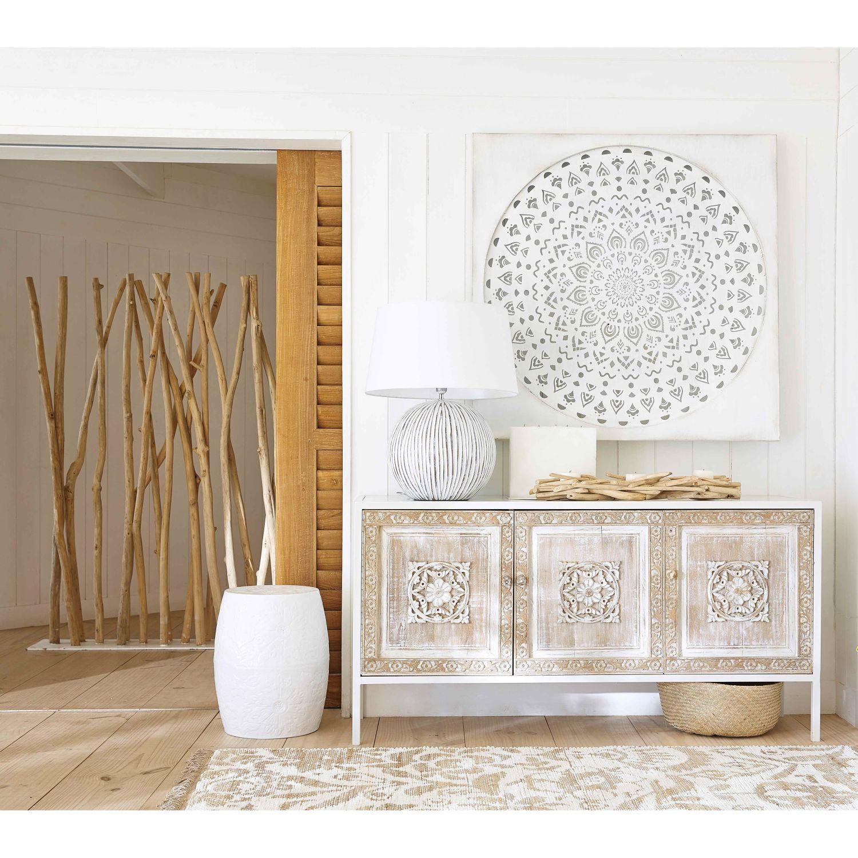 Buffet 3 portes en m tal blanc et manguier sculpt decor Tableau maisons du monde